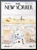 The New Yorker Cover, View of the World from 9th Avenue - March 29, 1976 Mounted Print by Saul Steinberg