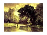 Fisherman in a Stream, 1857 Giclee Print by George Snr. Inness
