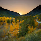 Autumn Vista with Yellow Aspens Along Cottonwood Pass, Rocky Mountains, Colorado,USA Photographic Print by Anna Miller