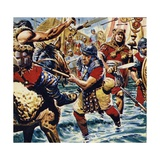 Fired Up by the Bravery of the Standard-Bearer, the Other Roman Legions Gained Courage Giclee Print by C.l. Doughty