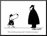"""They rubbed my tummy, chief—I told them everything."" - New Yorker Cartoon Mounted Print by Charles Barsotti"