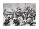 The Duke of Westminster and His Armoured Cars Dash to the Rescue of Shipwrecked Crews Giclee Print by Howard K. Elcock