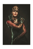 Young Woman with Spider Body Art and Mask Prints by NejroN Photo