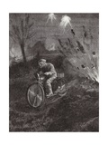 Lance-Corporal C C Parrott Carrying Messages on His Motor-Bicycle Along Roads Swept by Shellfire Giclee Print by H. Ripperger