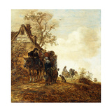 Peasants in a Cart by a Cottage Jan Josephsz, 1651 Giclee Print by Jan Josephsz. Van Goyen