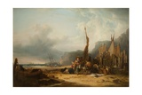 Coast Scene with Shipping Giclee Print by William Snr. Shayer