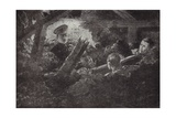 Second Lieutenant Cecil Calvert Unearths and Rescues Two Men from a Mine Gallery Giclee Print by H. Ripperger