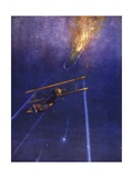 Lieutenant William Leefe Robinson Attacks an Enemy Airship and Brings it Down in Flames Giclee Print by W. Avis