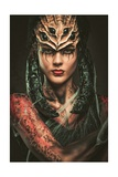 Young Woman with Spider Body Art and Mask Print by NejroN Photo