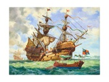 The Great Harry, Flagship of King Henry's Fleet, Sporting Many of its 251 Guns Giclee Print by C.l. Doughty