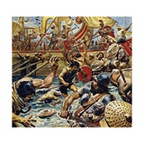 Caesar Ordered His Boats in Close and Laid Down a Bombardment of Arrows Giclee Print by C.l. Doughty