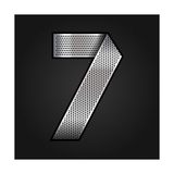 Number Metal Chrome Ribbon - 7 - Seven Premium Giclee Print by  Ecelop