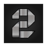 Number Metal Chrome Ribbon - 2 - Two Premium Giclee Print by  Ecelop