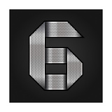 Number Metal Chrome Ribbon - 6 - Six Premium Giclee Print by  Ecelop