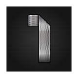 Number Metal Chrome Ribbon - 1 - One Premium Giclee Print by  Ecelop