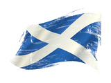 A Scottish Flag in the Wind with a Texture Print by  TINTIN75