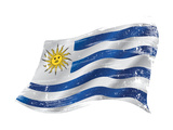 Flag of Uruguay in the Wind with a Texture Poster by  TINTIN75