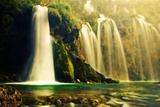Waterfall in Forest. Crystal Clear Water. Plitvice Lakes, Croatia Posters by PHOTOCREO Michal Bednarek