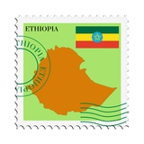 Stamp with Map and Flag of Ethiopia Plakater af  Perysty