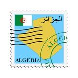 Stamp with Map and Flag of Algeria Kunst af Perysty