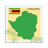 Stamp with Map and Flag of Zimbabwe Plakater af Perysty