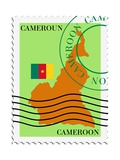 Stamp with Map and Flag of Cameroon Prints by  Perysty