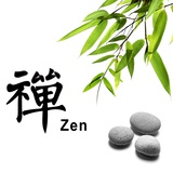 Bamboo Leafs and Zen Stones Isolated on White,The Chinese Word Means Zen. Photographic Print by Liang Zhang