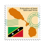Stamp with Map and Flag of Saint Kitts and Nevis Posters by  Perysty