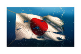 Japan under Water Sea Flag National Torn Bubble 3D Prints by  NatanaelGinting