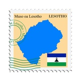 Stamp with Map and Flag of Lesotho Art by  Perysty