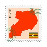 Stamp with Map and Flag of Uganda Posters af Perysty