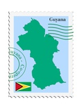 Stamp with Map and Flag of Guyana Prints by  Perysty