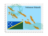 Stamp with Map and Flag of Solomon Islands Poster by  Perysty