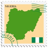 Stamp with Map and Flag of Nigeria Posters af Perysty