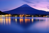 Mount Fuji at Dusk near Lake Kawaguchi in Yamanashi Prefecture, Japan. Photographic Print by  SeanPavonePhoto