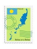 Stamp with Map and Flag of Palau Posters by  Perysty