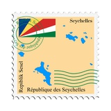 Stamp with Map and Flag of Seychelles Plakater af  Perysty