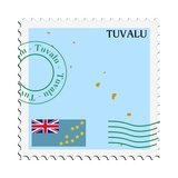 Stamp with Map and Flag of Tuvalu Art by  Perysty
