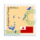 Stamp with Map and Flag of Tonga Posters by  Perysty