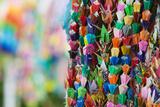 Japan Hiroshima Peace Memorial Park Colorful Paper Cranes Close-Up Posters by  Nosnibor137