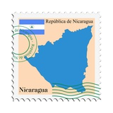 Stamp with Map and Flag of Nicaragua Prints by  Perysty