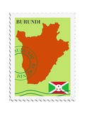 Stamp with Map and Flag of Burundi Póster por  Perysty