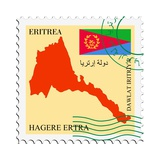 Stamp with Map and Flag of Eritrea Giclee-tryk i høj kvalitet af  Perysty