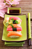 Japan Traditional Food Sushi on Green Plate Photo by  egal
