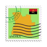 Stamp with Map and Flag of Angola Pósters por  Perysty