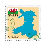 Stamp with Map and Flag of Wales Posters by  Perysty