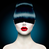 High Fashion Model Girl Portrait with Trendy Fringe Hair Style and Makeup. Long Black Fringe Hairst Posters by Subbotina Anna