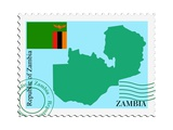 Stamp with Map and Flag of Zambia Poster by  Perysty