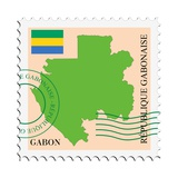 Stamp with Map and Flag of Gabon Poster by  Perysty