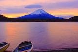 Mount Fuji and Boats at Sunrise Lake Shojiko Photographic Print by  shihina